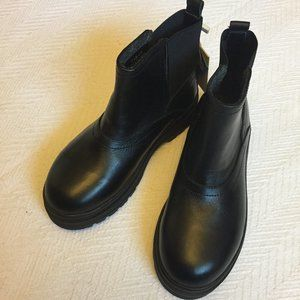 Black Leather High Top Chelsea Boots
